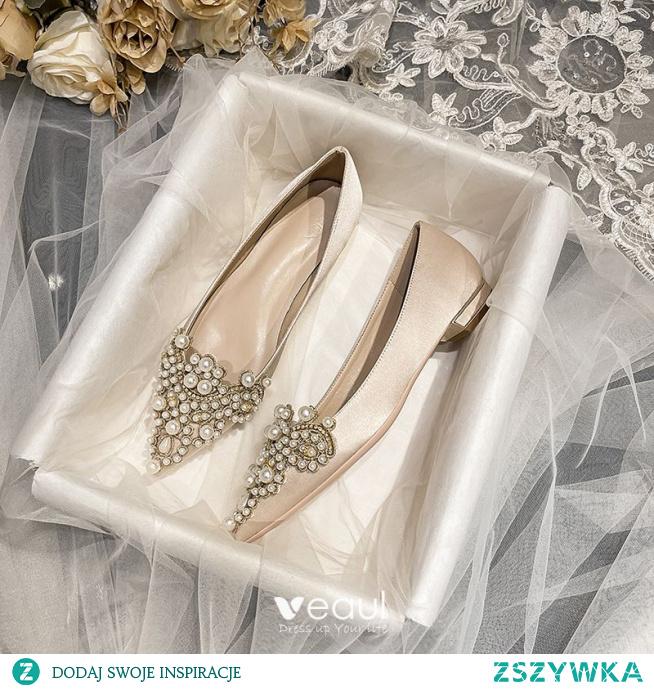 Eleganckie Szampan Perła Rhinestone Satyna Buty Ślubne 2021 Szpiczaste Płaskie Ślub Na Obcasie