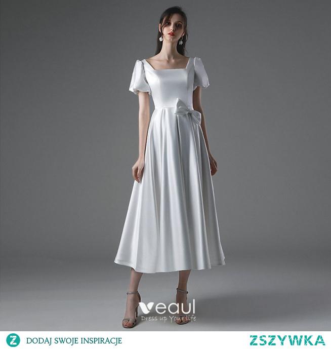 Proste / Simple Kość Słoniowa Satyna Suknie Ślubne 2021 Princessa Kwadratowy Dekolt Kótkie Rękawy Kokarda Bez Pleców Długość Herbaty Ślub