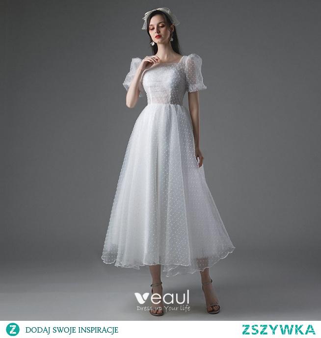 Proste / Simple Białe Krótkie Suknie Ślubne 2021 Princessa Kwadratowy Dekolt Kótkie Rękawy Bez Pleców Ślub