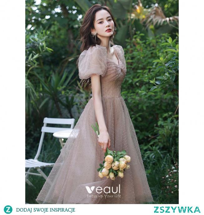 Piękne Ciemny Róż Homecoming Sukienki Na Studniówke 2021 Princessa Kokarda Kwadratowy Dekolt Bufiasta Kótkie Rękawy Bez Pleców Długość Herbaty Sukienki Wizytowe