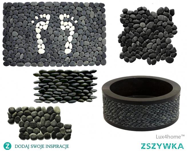 TOP 5 zastosowań otoczaków na siatce. Czarne otoczaki. Czarne otoczaki Lux4home™. Zobacz nasze kolekcje kamieni naturalnych które wykorzystujemy i do umywalek i mozaiki. Na zdjęciu: wycieraczka z otoczaków / mata pod prysznic z otoczaków, umywalka z czarnych otoczaków, okładzina 3D z otoczaków, mozaiki z otoczaków na siatce.