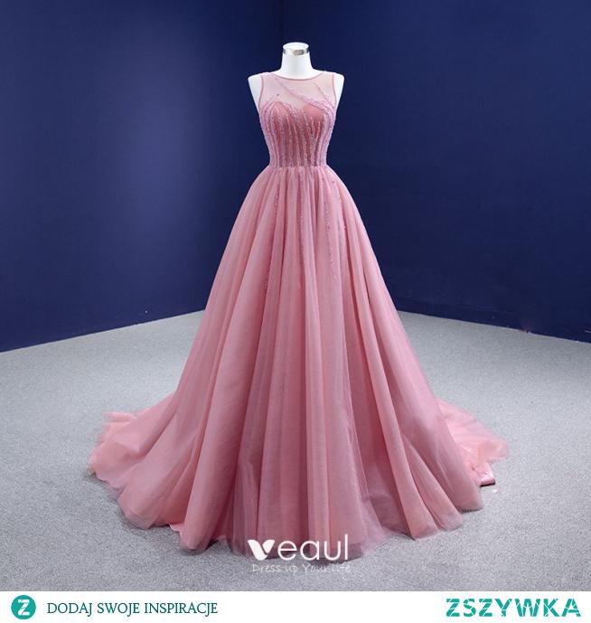 Wysokiej Klasy Rumieniąc Różowy Frezowanie Sukienki Na Bal 2021 Princessa Wycięciem Bez Rękawów Bez Pleców Trenem Sąd Bal Sukienki Wizytowe