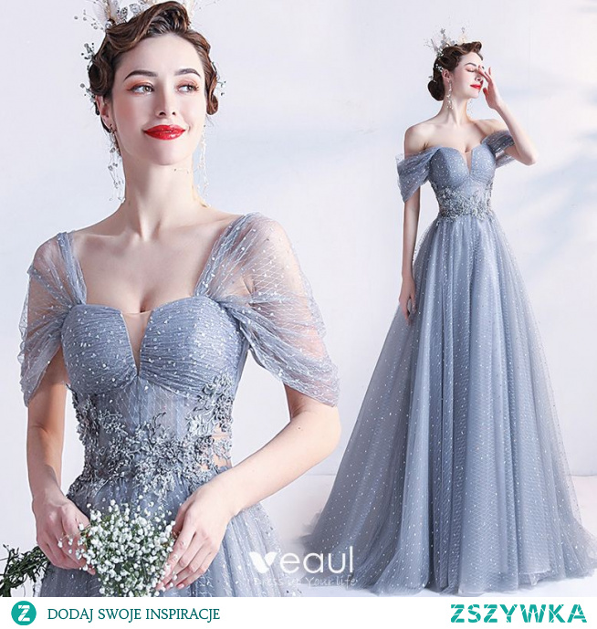 Piękne Szary Sukienki Na Bal 2021 Princessa Kwadratowy Dekolt Kótkie Rękawy Bez Pleców Frezowanie Perła Z Koronki Kwiat Długie Bal Sukienki Wizytowe