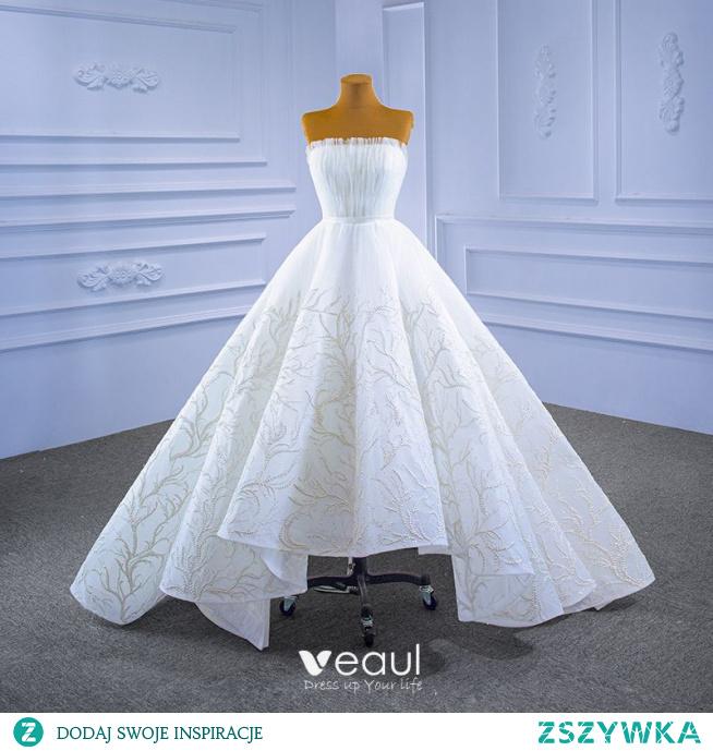 Wysokiej Klasy Białe Suknie Ślubne 2021 Suknia Balowa Frezowanie Wzburzyć Bez Ramiączek Bez Rękawów Bez Pleców Szarfa Trenem Sweep Ślub
