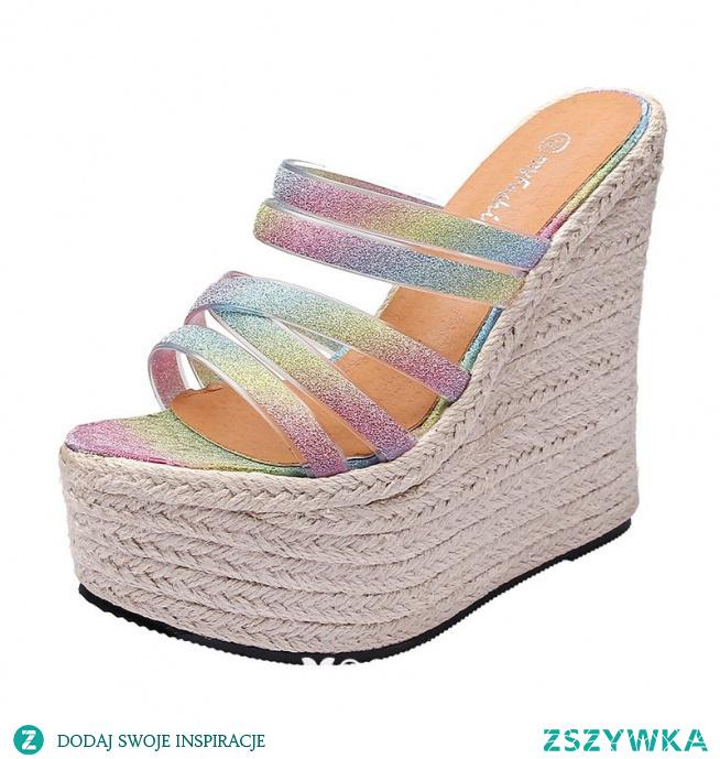 Moda Multi-Kolory Zużycie ulicy Warkocz Sandały Damskie 2021 16 cm Na Platformie Na Koturnie Peep Toe Sandały