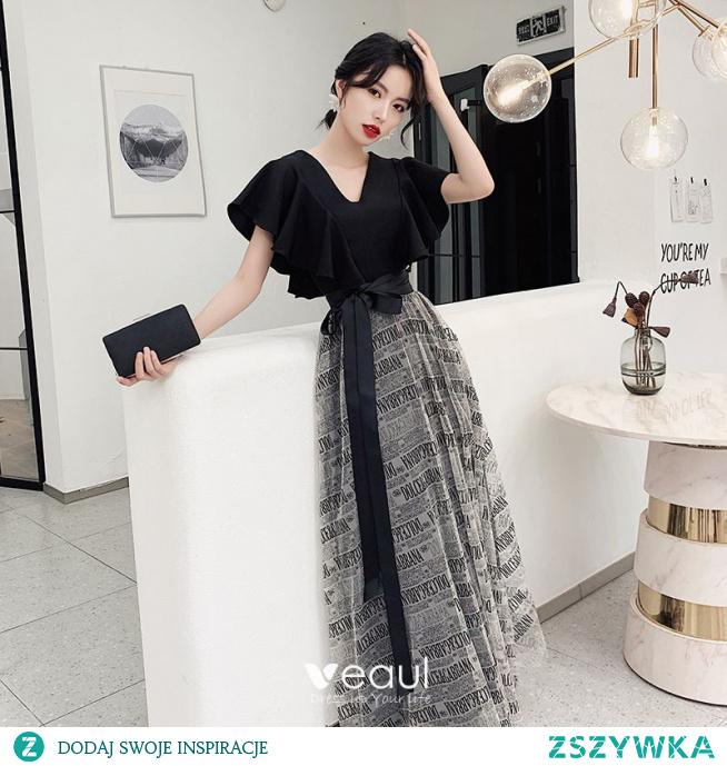 Moda Czarne Kokarda Sukienki Na Bal 2021 Princessa V-Szyja Kótkie Rękawy Długie Bal Sukienki Wizytowe