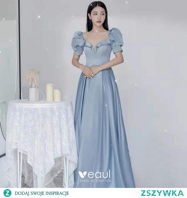 Eleganckie Błękitne Satyna Sukienki Na Bal 2021 Princessa Wzburzyć Kwadratowy Dekolt Kótkie Rękawy Bez Pleców Długie Bal Sukienki Wizytowe