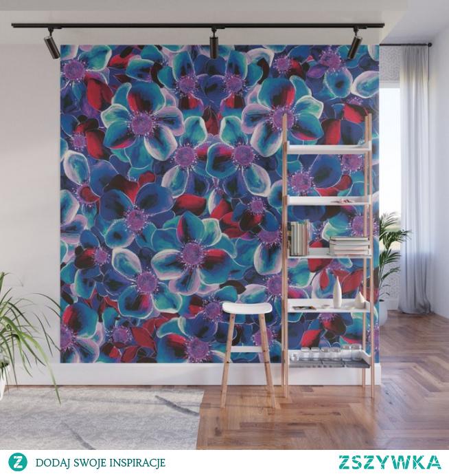 Mnóstwo kwiatów i szafir - Mural - Wzory Ozdobne  Lots of flowers and navy blue Wall Mural- Wzory Ozdobne