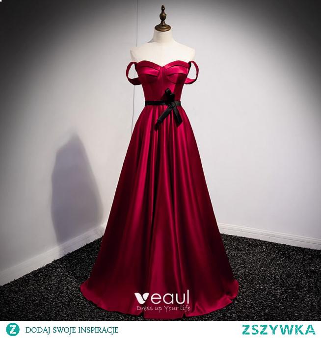 Vintage Burgund Satyna Sukienki Na Bal 2021 Princessa Bez Ramiączek Kokarda Bez Rękawów Bez Pleców Długie Bal Sukienki Wizytowe