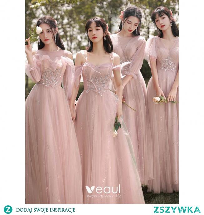 Piękne Rumieniąc Różowy Sukienki Dla Druhen 2021 Princessa Wycięciem Frezowanie Rhinestone Cekiny Kótkie Rękawy Bez Pleców Długie Na Wesele Sukienki Na Wesele