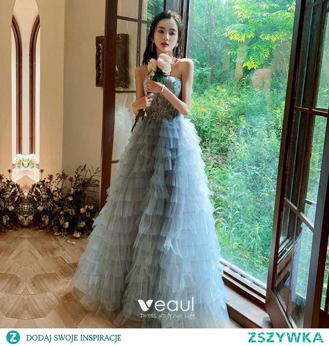 Piękne Błękitne Kaskadowe Falbany Sukienki Na Bal 2021 Princessa Bez Ramiączek Frezowanie Aplikacje Kótkie Rękawy Bez Pleców Długie Bal Sukienki Wizytowe