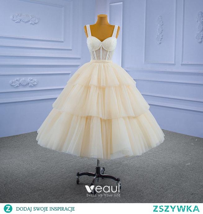 Uroczy Szampan Frezowanie Cekiny Kryształ Sukienki Na Bal 2021 Suknia Balowa Kwadratowy Dekolt Bez Rękawów Bez Pleców Długość Herbaty Bal Sukienki Wizytowe