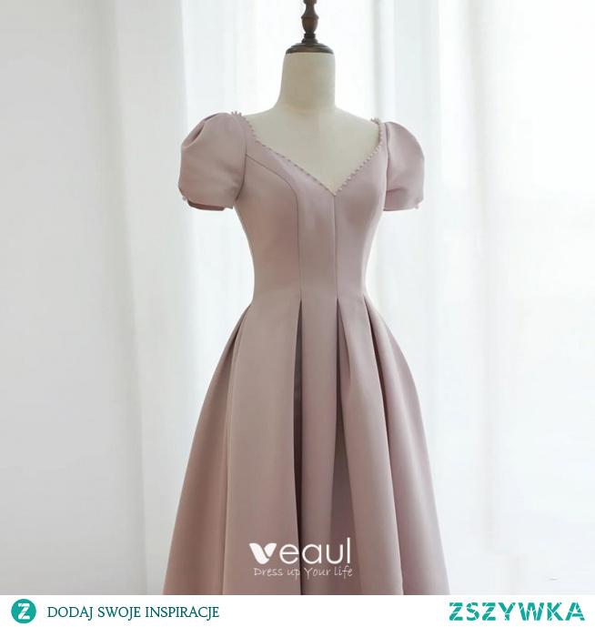 Proste / Simple Rumieniąc Różowy Satyna Sukienki Na Bal 2021 Princessa Spaghetti Pasy Perła Rhinestone Kótkie Rękawy Bez Pleców Długie Bal Sukienki Wizytowe