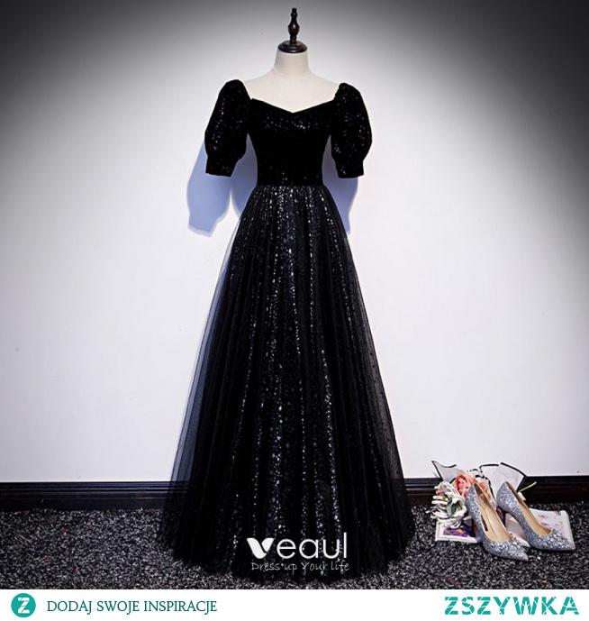Bling Bling Gwiaździste Niebo Czarne Gwiazda Cekiny Sukienki Na Bal 2021 Princessa Kwadratowy Dekolt Kótkie Rękawy Bez Pleców Długie Bal Sukienki Wizytowe