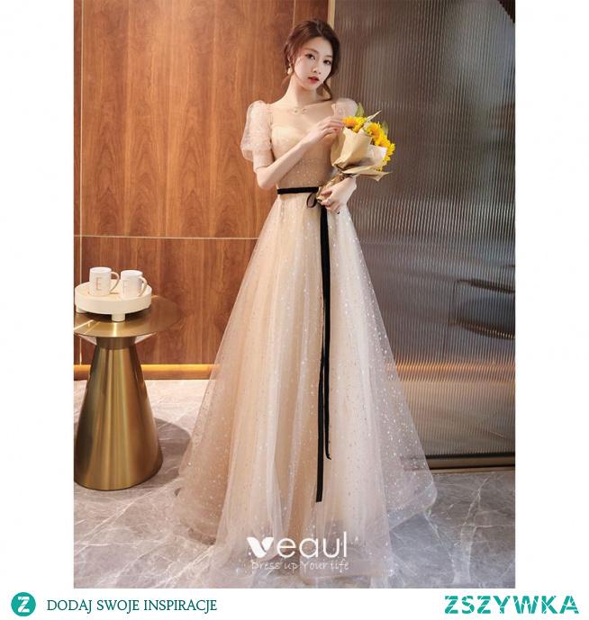 Uroczy Szampan Cekiny Sukienki Na Bal 2021 Princessa Kwadratowy Dekolt Kokarda Kótkie Rękawy Bez Pleców Długie Bal Sukienki Wizytowe