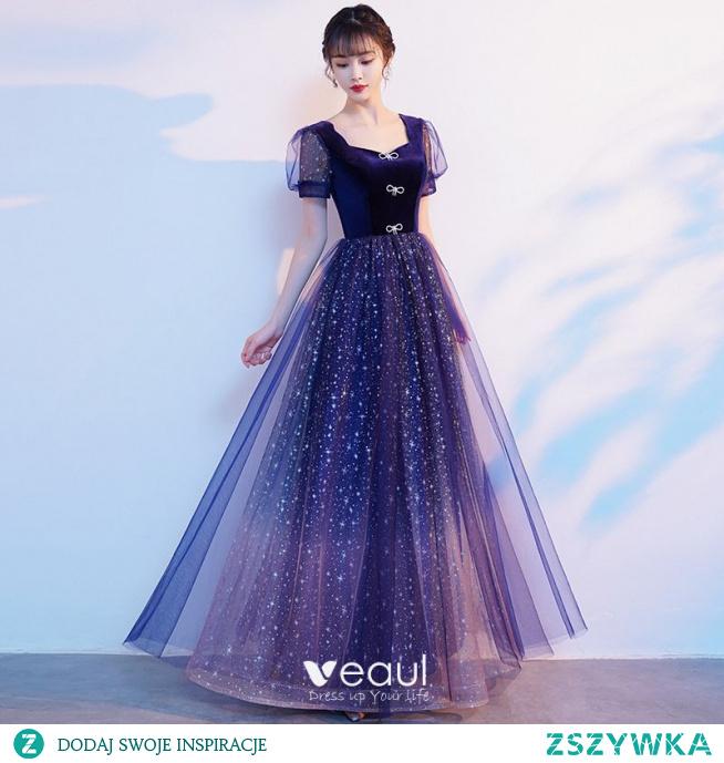 Bling Bling Królewski Niebieski Gwiazda Cekiny Rhinestone Kokarda Sukienki Na Bal 2021 Princessa Kwadratowy Dekolt Kótkie Rękawy Bez Pleców Długie Bal Sukienki Wizytowe