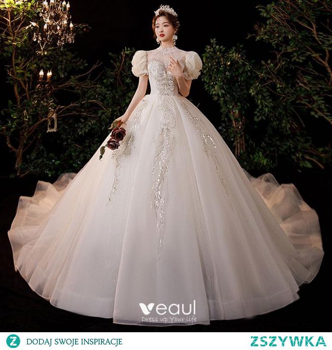 Uroczy Szampan Frezowanie Cekiny Suknie Ślubne 2021 Suknia Balowa Wysokiej Szyi Wzburzyć Kótkie Rękawy Bez Pleców Trenem Królewski Ślub