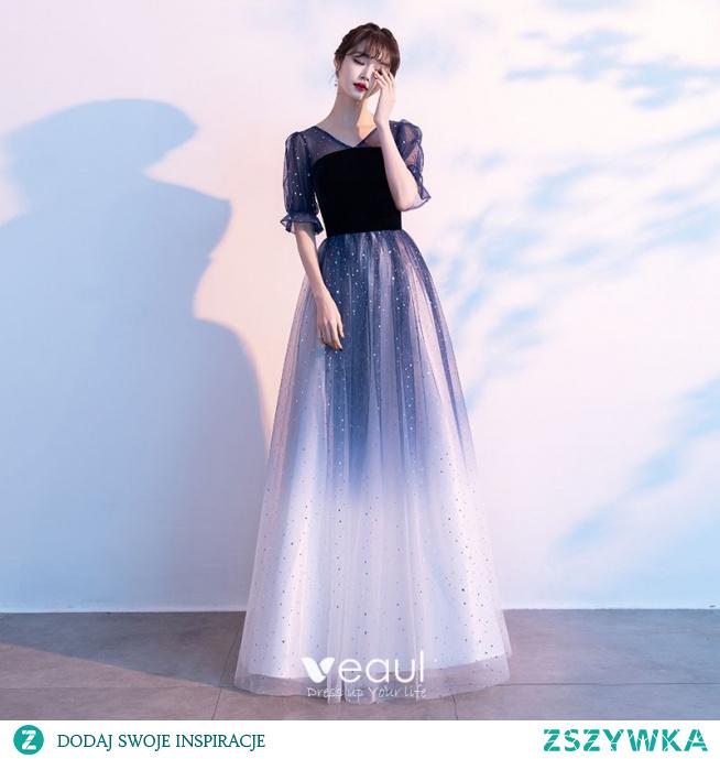 Piękne Ciemnoniebieski Gwiazda Cekiny Sukienki Na Bal 2021 Princessa V-Szyja Zamszowe 1/2 Rękawy Bez Pleców Długie Bal Sukienki Wizytowe