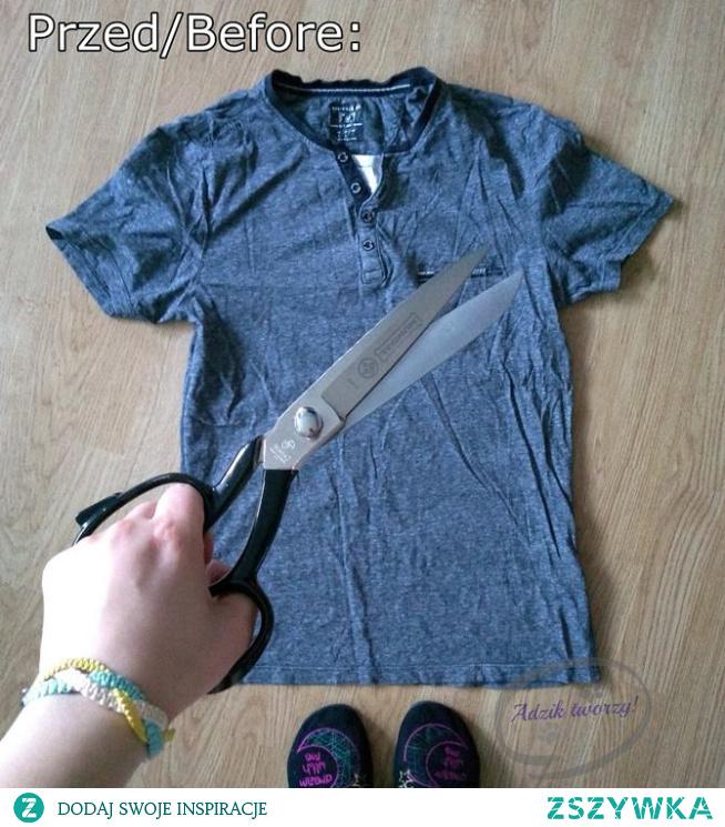 Wpadł w Twoje ręce męski (lub po prostu jakiś dużo za duży) t-shirt i masz chrapkę na przeróbkę?  Zobacz instrukcje jak zrobić top wiązany na szyi, wykorzystując do tego t-shirt chłopaka, męża czy po prostu bluzkowy łup dorwany w lumpeksie. ;)   KLIKnij w zdjęcie lub od razu wbij jak dzik w paśnik na blog Adzik-tworzy.pl po szczegóły przeróbki!