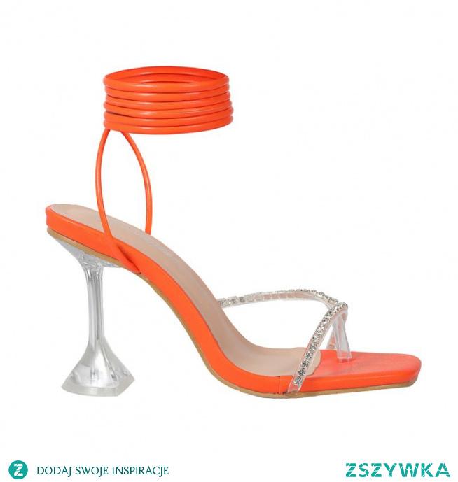 Seksowne Pomarańczowy Karnawał Rhinestone Sandały Damskie 2021 Z Paskiem 9 cm Szpilki Peep Toe Sandały Wysokie Obcasy