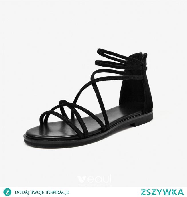 Rzymski Czarne Lato Plaża Przypadkowy Płaskie Sandały Damskie 2021 Skórzany X-Bar Peep Toe Sandały