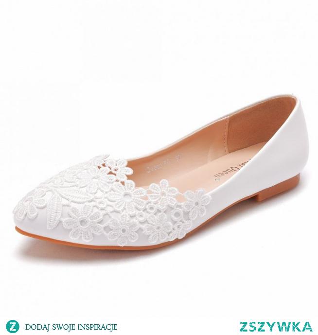 Proste / Simple Białe Z Koronki Kwiat Płaskie Buty Ślubne 2021 Szpiczaste Ślub Czółenka
