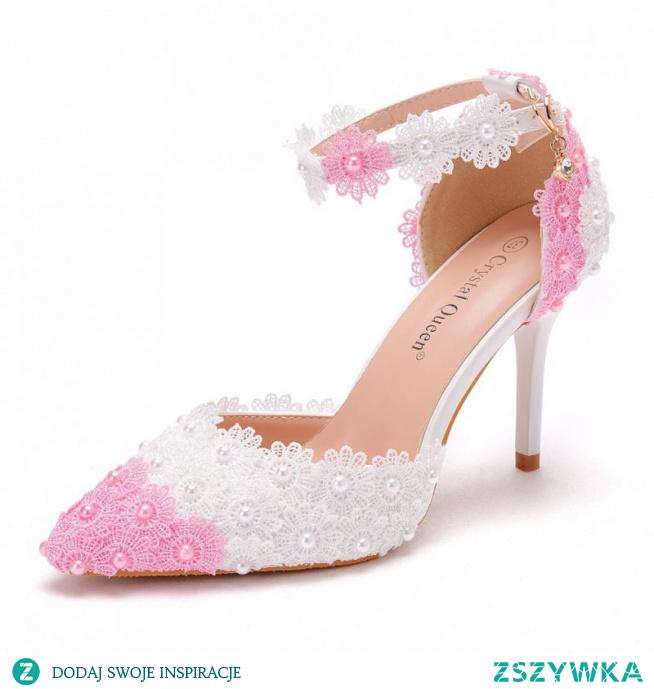 Eleganckie Rumieniąc Różowy Białe Z Koronki Kwiat Buty Ślubne 2021 Perła Z Paskiem 9 cm Szpilki Szpiczaste Ślub Wysokie Obcasy