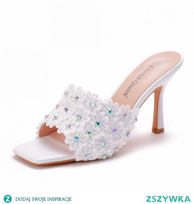 Moda Białe Koktajlowe Z Koronki Kwiat Rhinestone Sandały Damskie 2021 9 cm Szpilki Peep Toe Sandały Wysokie Obcasy