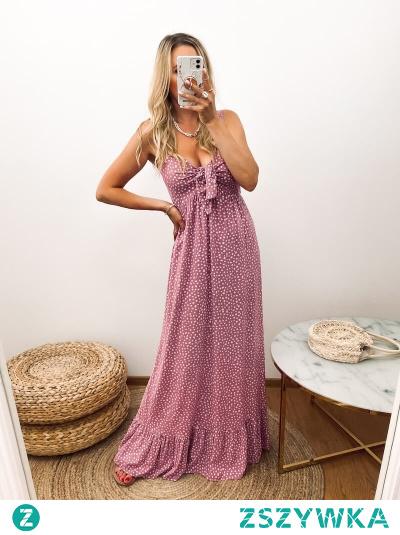 """Sukienka na wiosenne jak i letnie, upalne dni. Wykonana z porządnej jakościowo wiskozy, przewiewna, """"oddychąjąca"""", w piękny wrzosowym kolorze i niebanalne wzorki."""