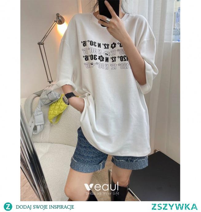 Moda Lato Przypadkowy Kobiety Czarne Białe Druk Bawełna Luźny koszulki 2021 Wycięciem Kótkie Rękawy Topy Damskie Podkoszulek