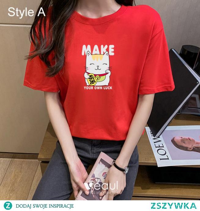 Przypadkowy Lato Czerwone Luźny Rysunek Druk koszulki 2021 Bawełna Wycięciem Kótkie Rękawy Topy Damskie Podkoszulek