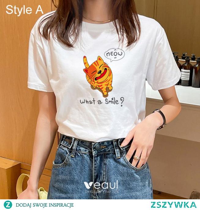 Przypadkowy Lato Białe Luźny Rysunek Druk koszulki 2021 Bawełna Wycięciem Kótkie Rękawy Topy Damskie Podkoszulek