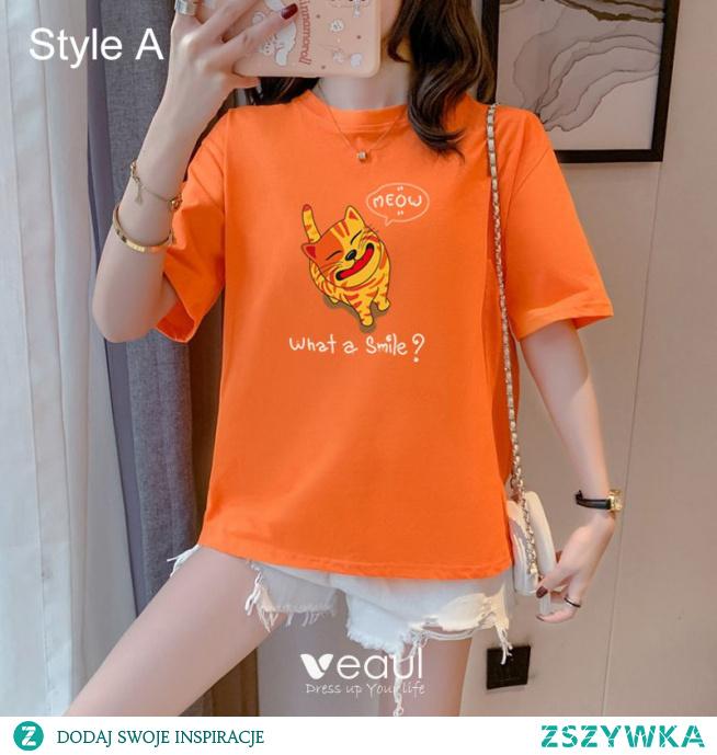 Przypadkowy Lato Pomarańczowy Rysunek Druk Luźny koszulki 2021 Bawełna Wycięciem Kótkie Rękawy Topy Damskie Podkoszulek