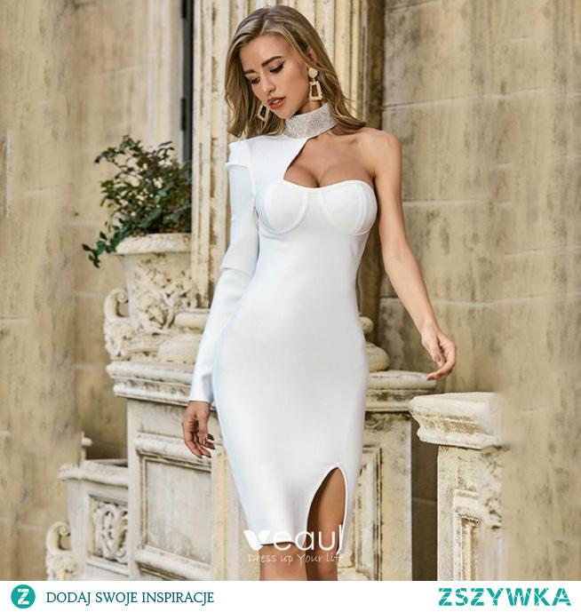 eksowne Kość Słoniowa Mocno Sukienki Koktajlowe Sukienki Wieczorowe 2021 Syrena / Rozkloszowane Wysokiej Szyi Jedno Ramię Długie Rękawy Bez Pleców Koktajlowe Wieczorowe Kobiety Sukienki Sukienki Wizytowe