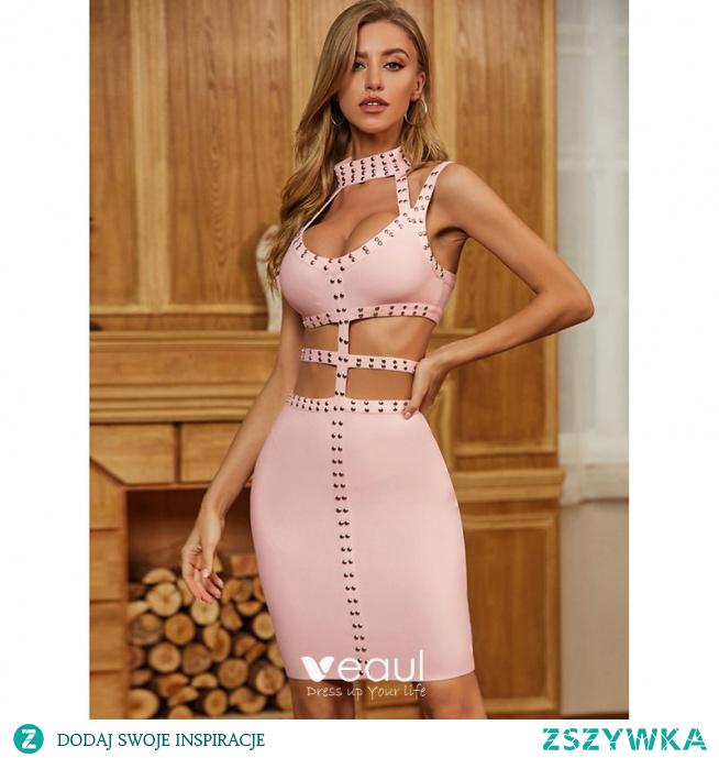 Seksowne Rumieniąc Różowy Nit Strona Sukienka 2021 Posiadacz Bez Rękawów Bez Pleców Koktajlowe Kobiety Sukienki