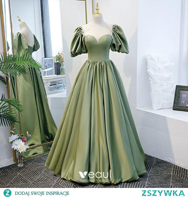 Piękne Zielony Sukienki Na Bal 2021 Princessa Wycięciem Rhinestone Kokarda Bufiasta Kótkie Rękawy Bez Pleców Długie Sukienki Wizytowe