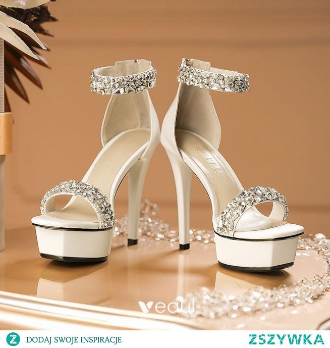 Uroczy Białe Rhinestone Buty Ślubne 2021 Skórzany Z Paskiem 12 cm Szpilki Peep Toe Buty Ślubne Wysokie Obcasy