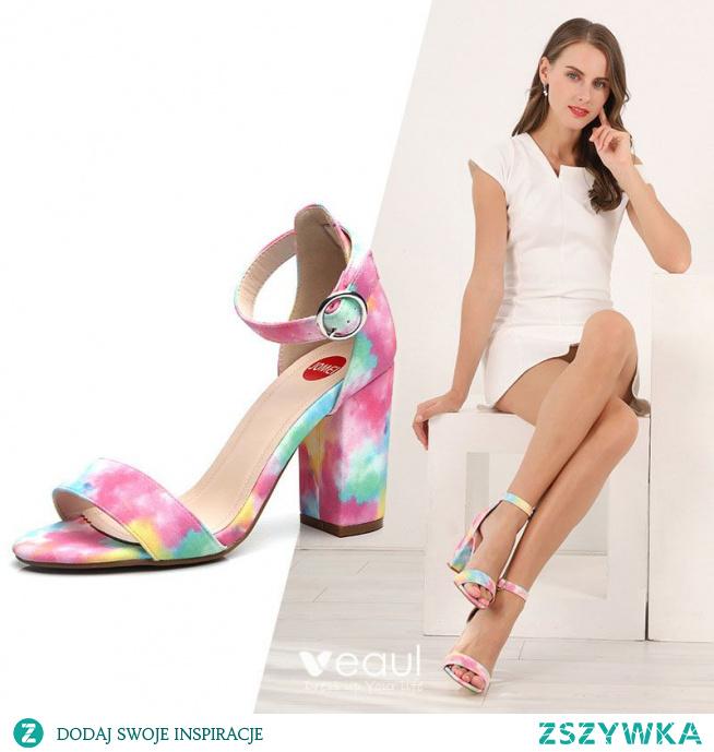 Moda Lato Zużycie ulicy Multi-Kolory Sandały Damskie 2021 Z Paskiem 9 cm Grubym Obcasie Peep Toe Sandały Damskie Wysokie Obcasy