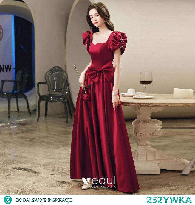 Piękne Burgund Koktajlowe Wieczorowe Sukienki Na Bal 2021 Satyna Princessa Kwadratowy Dekolt Bufiasta Kótkie Rękawy Kokarda Bez Pleców Perła Rhinestone Długie Sukienki Wizytowe