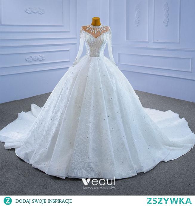 Luksusowe Wysokiej Klasy Kość Słoniowa Cekinami Frezowanie Kryształ Rhinestone Suknie Ślubne 2021 Suknia Balowa Wysokiej Szyi Aplikacje Cekiny 3/4 Rękawy Trenem Królewski Ślub