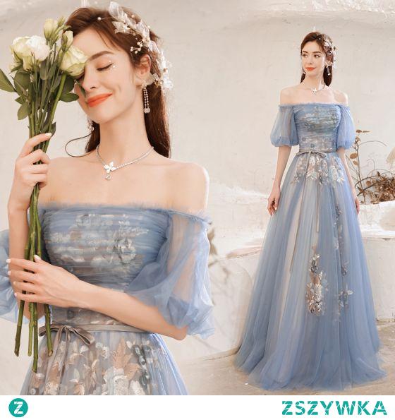 Uroczy Błękitne Z Koronki Kwiat Sukienki Na Bal 2021 Princessa Przy Ramieniu Szarfa Kokarda Kótkie Rękawy Bez Pleców Długie Bal Sukienki Wizytowe