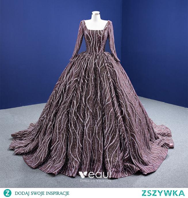 Wysokiej Klasy Kawa Cekinami Cekiny Sukienki Na Bal 2021 Suknia Balowa Kwadratowy Dekolt Długie Rękawy Trenem Sąd Bal Sukienki Wizytowe