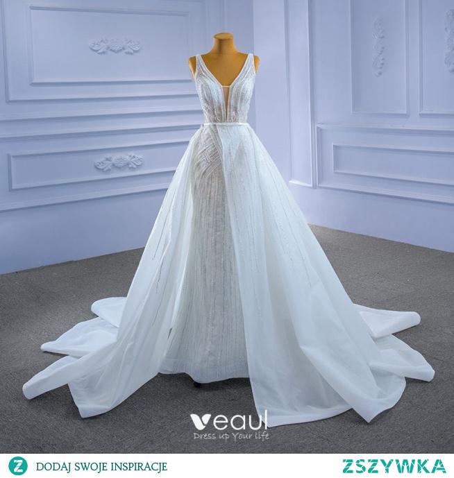 Wysokiej Klasy Białe Frezowanie Perła Cekiny Suknie Ślubne 2021 Syrena / Rozkloszowane V-Szyja Bez Rękawów Bez Pleców Trenem Kaplica Ślub