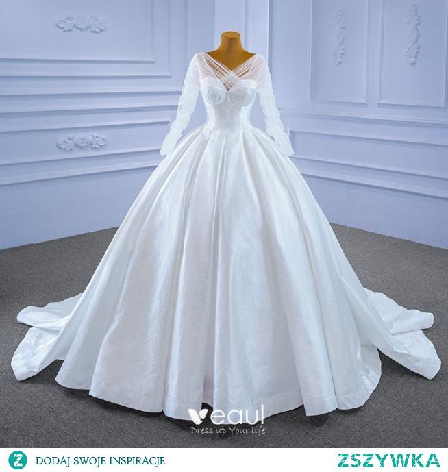 Wysokiej Klasy Kość Słoniowa Suknia Balowa Suknie Ślubne 2021 V-Szyja Długie Rękawy Bez Pleców Trenem Kaplica Ślub