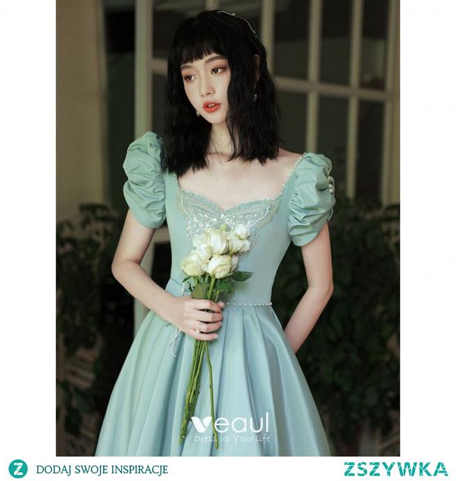 Piękne Limonkowy Homecoming Sukienki Na Studniówke 2021 Princessa Kwadratowy Dekolt Frezowanie Perła Wzburzyć Kótkie Rękawy Bez Pleców Długie Sukienki Wizytowe