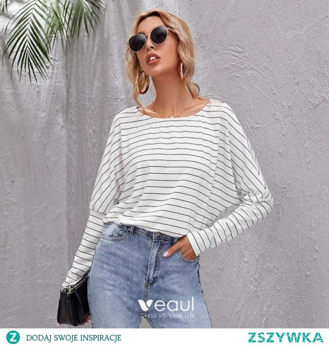 Proste / Simple Przypadkowy Spadek Zima W paski Białe koszulki 2021 Wycięciem Długie Rękawy Regularny Kobiety Topy