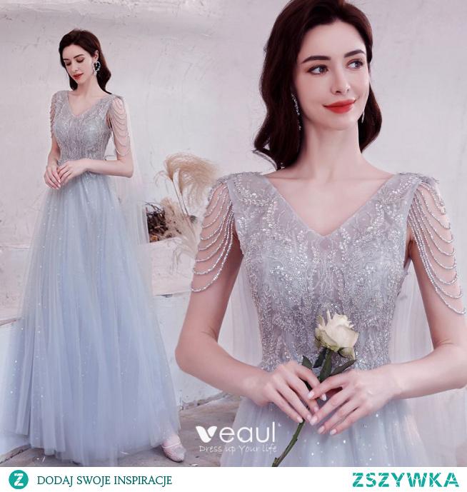 Błyszczące Uroczy Szary Sukienki Na Bal 2021 Princessa V-Szyja Frezowanie Cekiny Bez Rękawów Bez Pleców Długie Sukienki Wizytowe