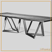 Stół z kwadratowymi nogami