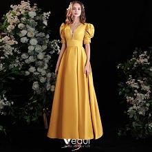 Vintage Żółta Satyna Sukien...