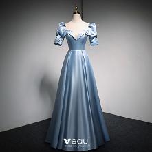 Moda Błękitne Satyna Sukien...